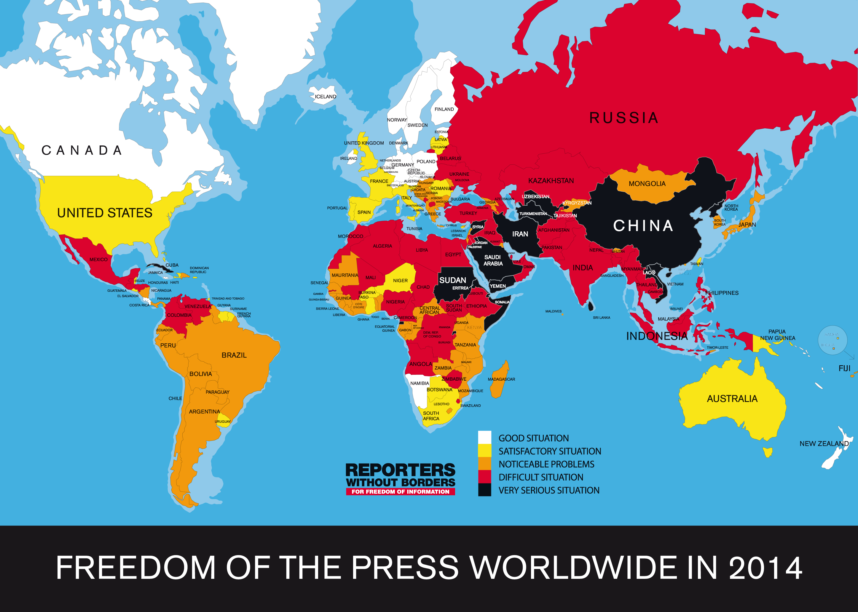 US And UK Plunge In World Press Freedom Index THE - Map of us and uk