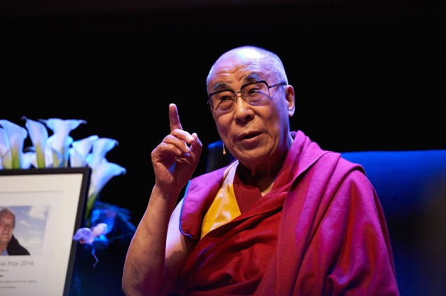 The Dalai Lama speaking during his talk on Cultivating Compassion in Everyday Life at the Folketeateret in Oslo, Norway on May 9,2014. (Photo Credit: Oliver Adam)