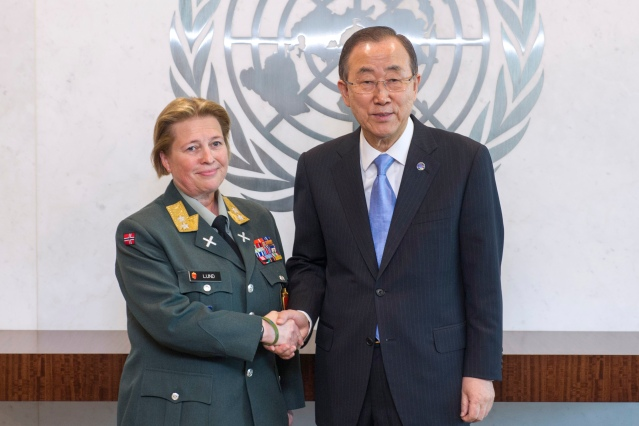 Secretary-General Ban Ki-moon (right) meets with Major General Kristin Lund, whom he has appointed as Force Commander of the UN Peacekeeping Force in Cyprus (UNFICYP). (Photo Credit: UN Photo/Mark Garten)