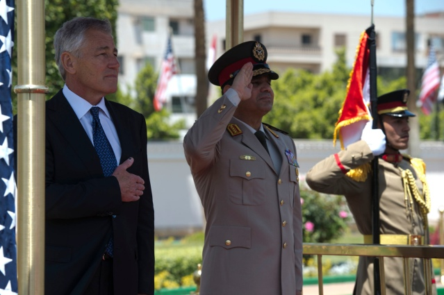Secretary of Defense Chuck Hagel participates in an arrival honors ceremony with Egyptian Minister of Defense, Abdel Fatah Saeed Al Sisy, in Cairo, Egypt, April 24, 2013. Egypt is Hagel's fourth stop on a six day trip to the Middle East to meet with defense counterparts. (Photo Credit: Erin A. Kirk-Cuomo)